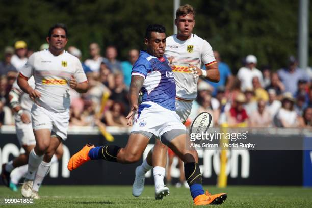 Tusi Pisi of Samoa kicks the ball during the Germany v Samoa Rugby World Cup 2019 qualifying match on July 14 2018 in Heidelberg Germany