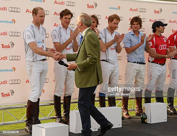 Tusk CEO Charlie Mayhew congratulates Team Audi Ultra members Prince William Duke of Cambridge Luke Tomlinson Mark Tomlinson Prince Harry and William...