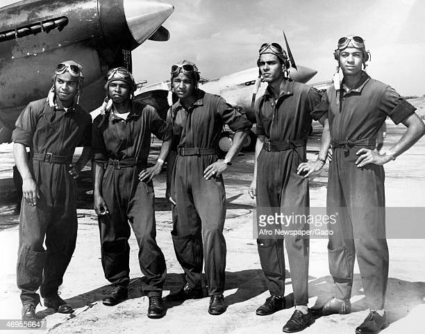 Tuskegee Airmen at Tuskegee Army Flying School with fighter aircraft Tuskegee Alabama 1942