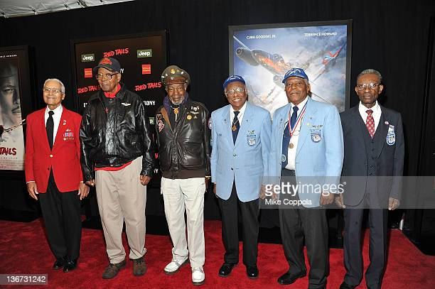 Tuskegee Airmen attend the Red Tails premiere at the Ziegfeld Theater on January 10 2012 in New York City
