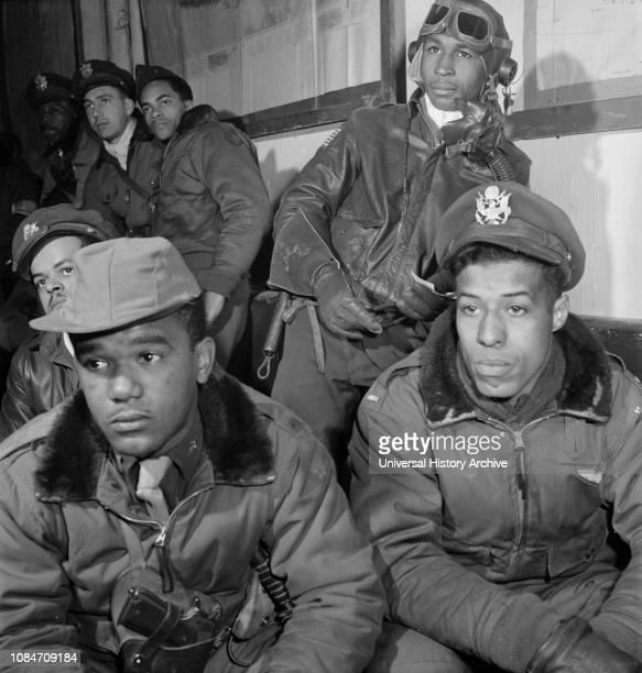Tuskegee Airmen Attending Briefing, Joseph L Chineworth, Emile G Clifton, Richard S Harder, Frank N Wright, Robert J Murdic, Jimmie D Wheeler, Toni...