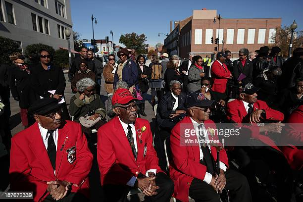 Tuskegee Airmen Ivan Ware Major Anderson William Fauntroy and Edward Talbert take part in a wreathlaying ceremony commemorating Veterans Day and...