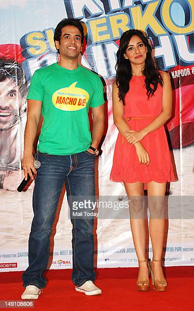 Tusshar Kapoor and Neha Sharma during the promotion of the movie Kyaa Super Kool Hain Hum at NM College Mumbai on July 21 2012