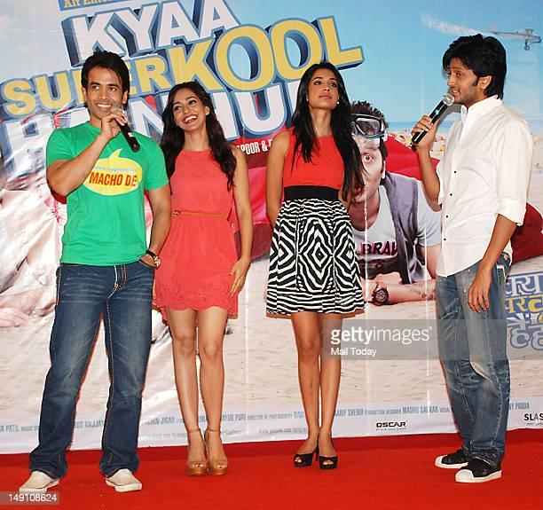 Tusshar Kapoor Neha Sharma Sarah Jane Dias and Riteish Deshmukh during the promotion of the movie Kyaa Super Kool Hain Hum at NM College Mumbai on...