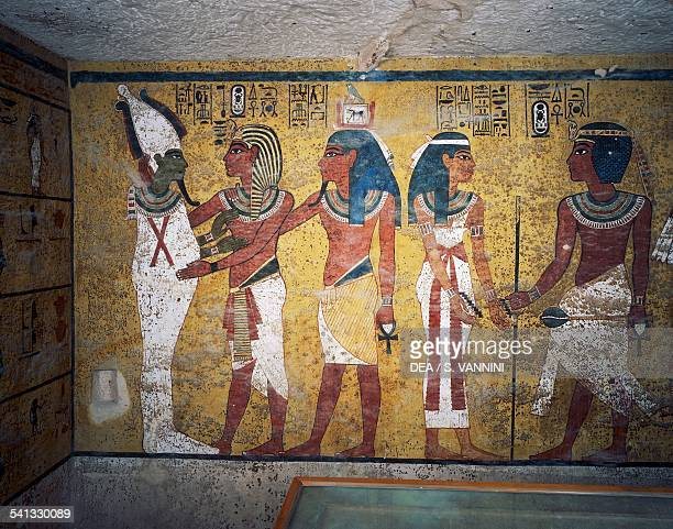 Tutankhamun and his ka in front of Osiris detail from the frescoes in the burial chamber Tomb of Tutankhamun Valley of the Kings Ancient Thebes Luxor...