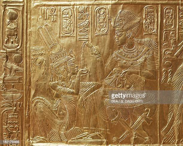 Tutankhamun and his wife detail of the ritual casket model of the sanctuary of the goddess Nekhbet decorated with basreliefs of scenes from the life...