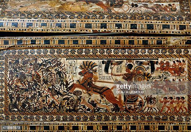 Tutankhamun in battle detail from a painted casket from the Tomb of Tutankhamun Egyptian civilisation New Kingdom Dynasty XVIII Cairo Egyptian Museum