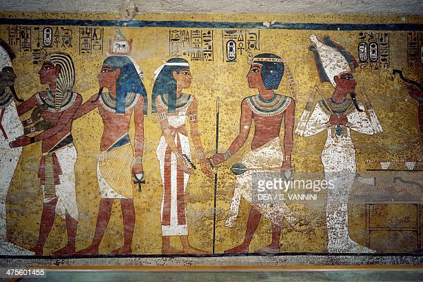 Tutankhamun with his ka before Osiris the young pharaoh in front of the goddess Nut and Ay performing the opening of the mouth ceremony fresco north...
