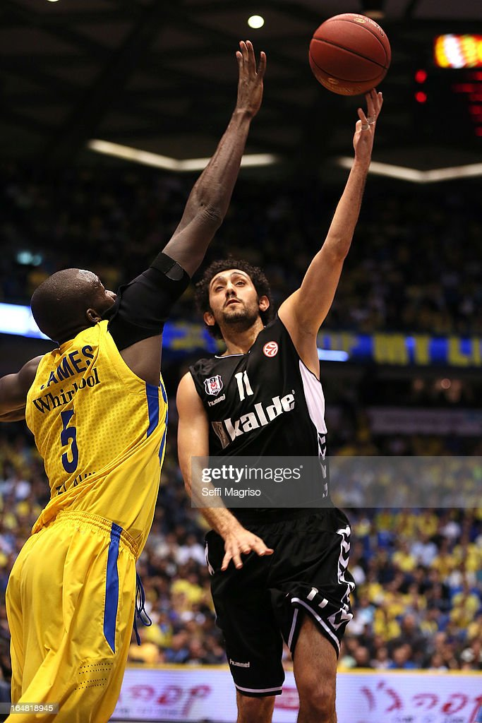 Tutku Acik, #11of Besiktas JK Istanbul competes with Shawn James, #5 of Maccabi Electra Tel Aviv during the 2012-2013 Turkish Airlines Euroleague Top 16 Date 13 between Maccabi Electra Tel Aviv v Besiktas JK Istanbul at Nokia Arena on March 28, 2013 in Tel Aviv, Israel.