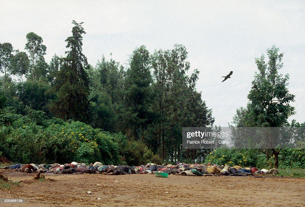 150 Tutsi peasants were massacred at Nyanza Hill by the army during the civil war in Rwanda. | Location: Nyanza Hill, Rwanda.