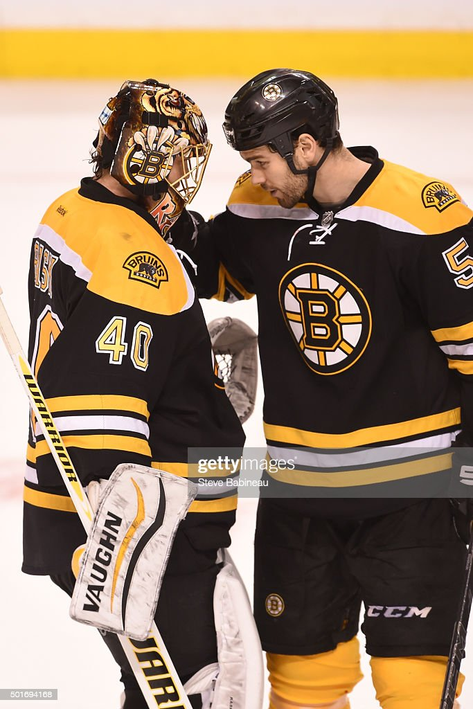 Tuukka Rask #40 and Adam McQuaid #54 of the Boston Bruins celebrate a shut out win against the Pittsburgh Penguins at the TD Garden on December 16, 2015 in Boston, Massachusetts.