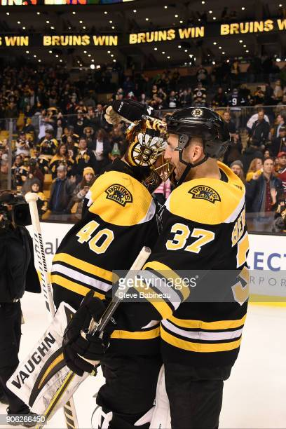 Tuukka Rask and Patrice Bergeron of the Boston Bruins hug after the win against the Montreal Canadiens at the TD Garden on January 17 2018 in Boston...