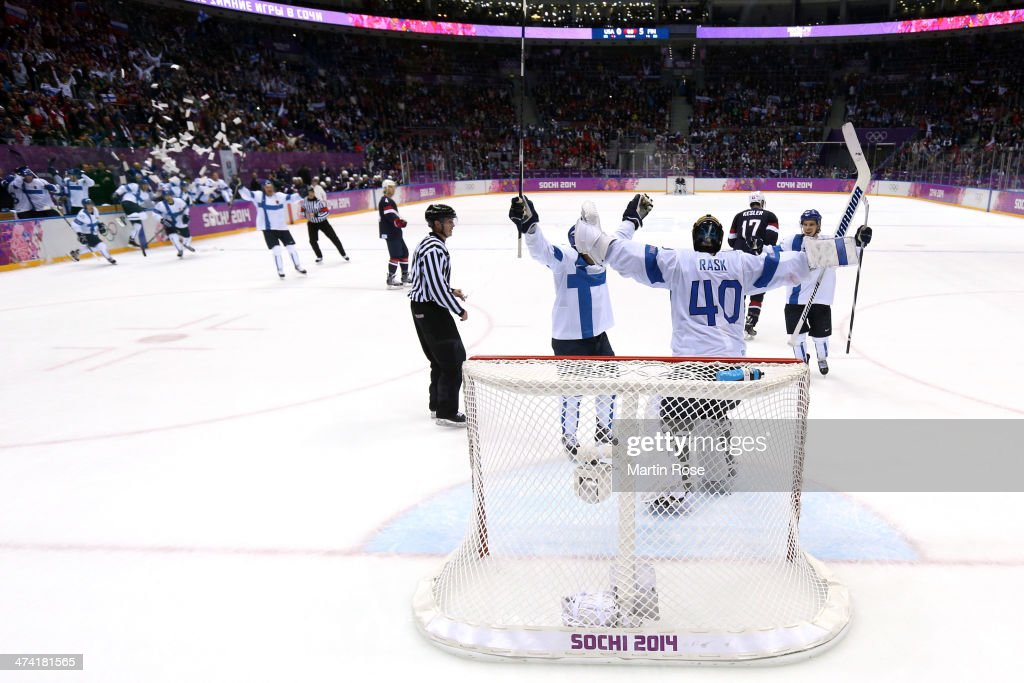 Tuukka Rask #40 of Finland celebrates with teammates after defeating the United States 5-0 during the Men's Ice Hockey Bronze Medal Game on Day 15 of the 2014 Sochi Winter Olympics at Bolshoy Ice Dome on February 22, 2014 in Sochi, Russia.