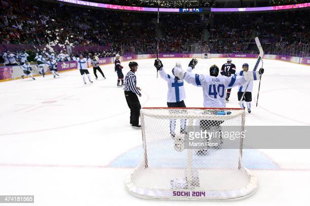 Tuukka Rask of Finland celebrates with teammates after defeating the United States 50 during the Men's Ice Hockey Bronze Medal Game on Day 15 of the...
