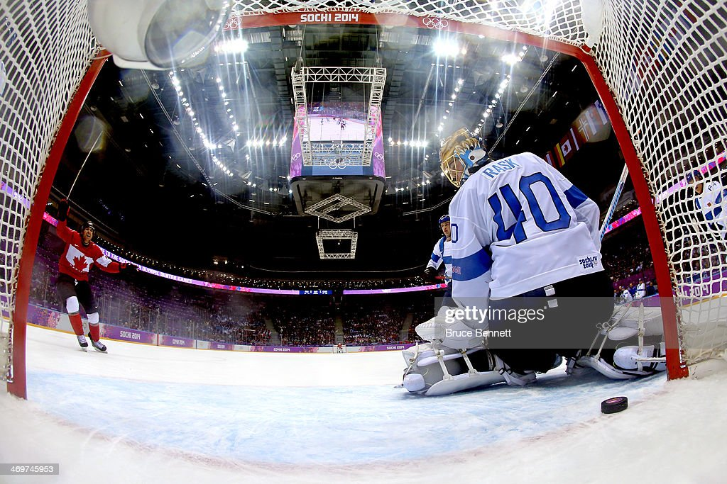 Tuukka Rask #40 of Finland gives up the game winning goal in overtime against Drew Doughty #8 of Canada during the Men's Ice Hockey Preliminary Round Group B game on day nine of the Sochi 2014 Winter Olympics at Bolshoy Ice Dome on February 16, 2014 in Sochi, Russia.