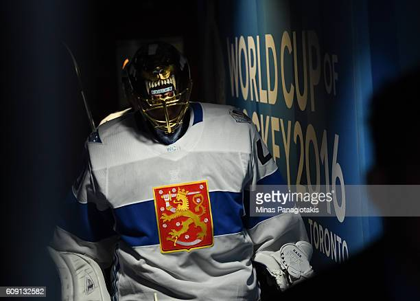 Tuukka Rask of Team Finland leaves the ice after warm up prior to a game against Team Sweden during the World Cup of Hockey 2016 at Air Canada Centre...