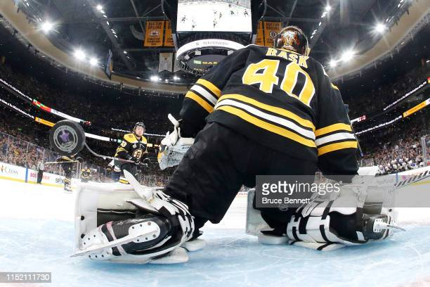 Tuukka Rask of the Boston Bruins allows a second period goal to Vladimir Tarasenko of the St Louis Blues in Game One of the 2019 NHL Stanley Cup...