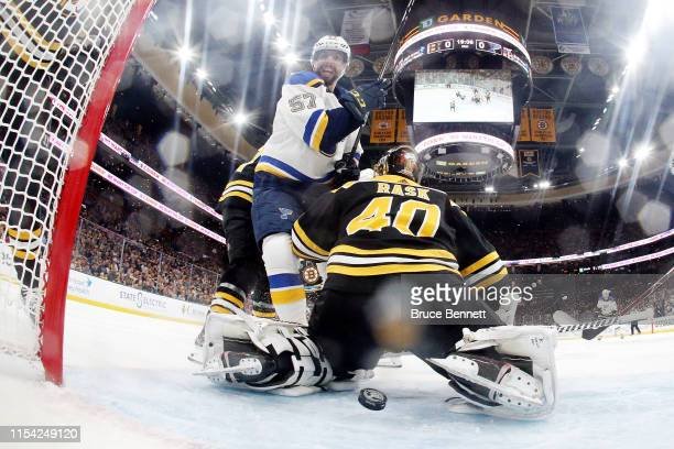 Tuukka Rask of the Boston Bruins allows a second period goal to Ryan O'Reilly of the St Louis Blues in Game Five of the 2019 NHL Stanley Cup Final at...