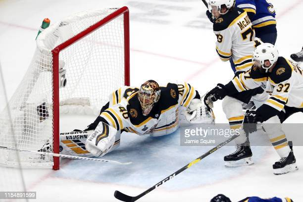 Tuukka Rask of the Boston Bruins allows a third period goal to Ryan O'Reilly of the St Louis Blues in Game Six of the 2019 NHL Stanley Cup Final at...