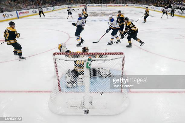 Tuukka Rask of the Boston Bruins allows the gamewinning goal to Carl Gunnarsson of the St Louis Blues during the first overtime period to give the in...