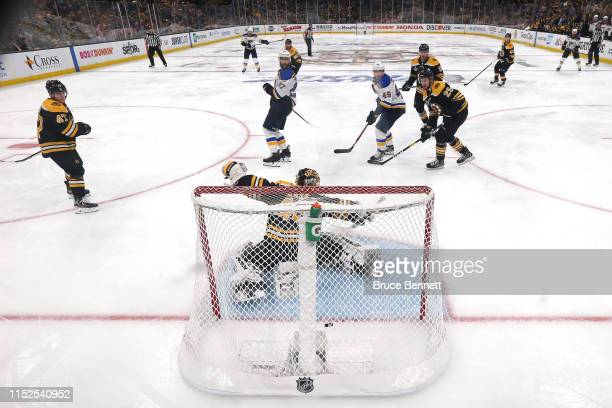 Tuukka Rask of the Boston Bruins allows the gamewinning goal to Carl Gunnarsson of the St Louis Blues during the first overtime period in Game Two of...