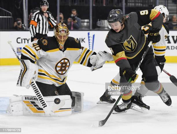 Tuukka Rask of the Boston Bruins blocks a shot as Cody Glass of the Vegas Golden Knights looks for a rebound in the second period of their game at...