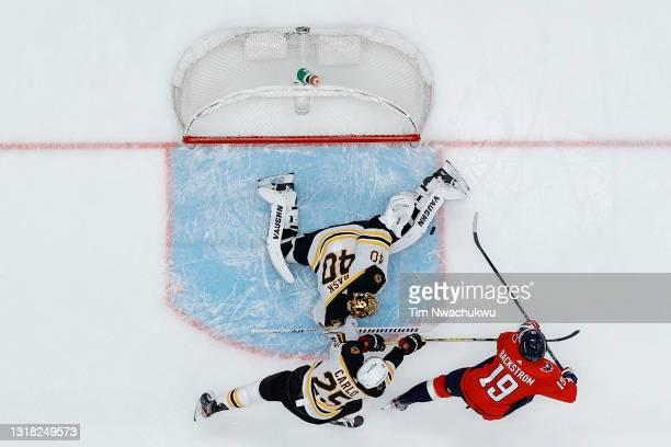 Tuukka Rask of the Boston Bruins blocks a shot by Nicklas Backstrom of the Washington Capitals during the first period during Game One of the First...
