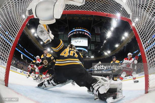 Tuukka Rask of the Boston Bruins blocks the net against the Carolina Hurricanes in Game One of the Eastern Conference Final during the 2019 NHL...
