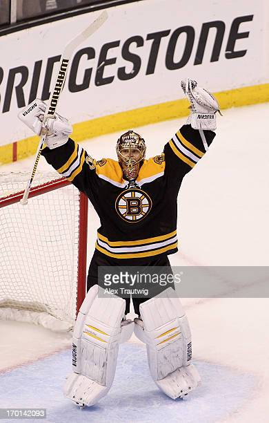 Tuukka Rask of the Boston Bruins celebrates after defeating the Pittsburgh Penguins 10 in Game Four of the Eastern Conference Final during the 2013...