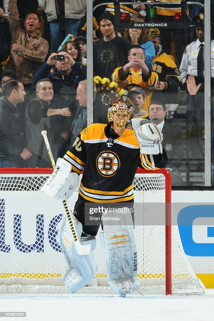 Tuukka Rask #40 of the Boston Bruins celebrates an over time win against the Ottawa Senators at the TD Garden on February 28, 2013 in Boston, Massachusetts.