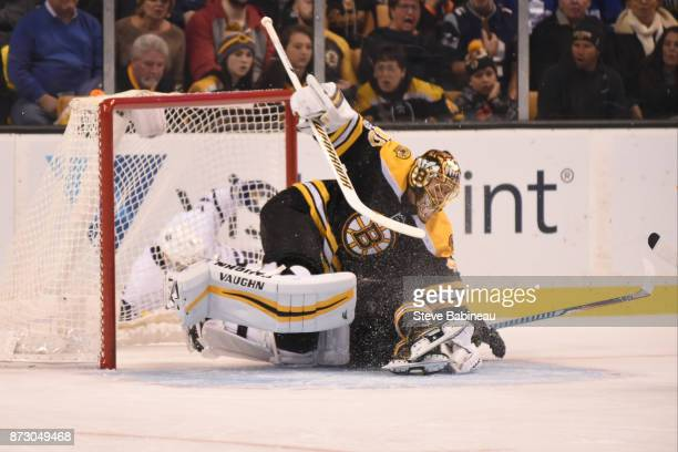 Tuukka Rask of the Boston Bruins collides with a team mate during the second period against the Toronto Maple Leafs at the TD Garden on November 11...