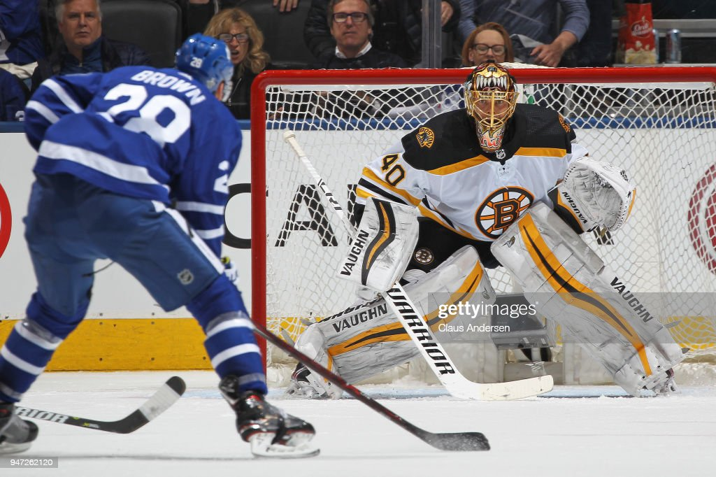 Tuukka Rask #40 of the Boston Bruins defends the net against Connor Brown #28 of the Toronto Maple Leafs on a break away in Game Three of the Eastern Conference First Round during the 2018 Stanley Cup Play-offs at the Air Canada Centre on April 16, 2018 in Toronto, Ontario, Canada. The Maple Leafs defeated the Bruins 4-2.