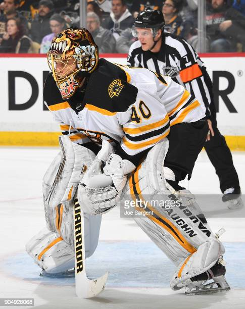 Tuukka Rask of the Boston Bruins defends the net against the Pittsburgh Penguins at PPG Paints Arena on January 7 2018 in Pittsburgh Pennsylvania