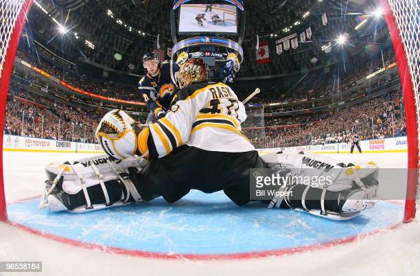 Tuukka Rask of the Boston Bruins does the splits to make a shootout save on Drew Stafford of the Buffalo Sabres on February 9 2010 at HSBC Arena in...