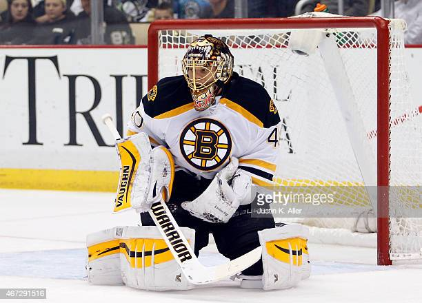 Tuukka Rask of the Boston Bruins during the game against the Pittsburgh Penguins at Consol Energy Center on March 14 2015 in Pittsburgh Pennsylvania