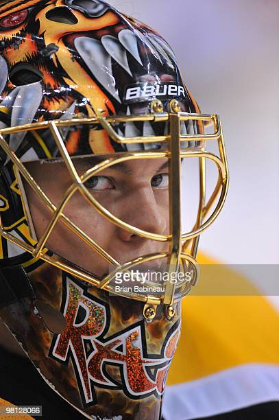Tuukka Rask of the Boston Bruins during warmups before the game against the Buffalo Sabres at the TD Garden on March 29 2010 in Boston Massachusetts
