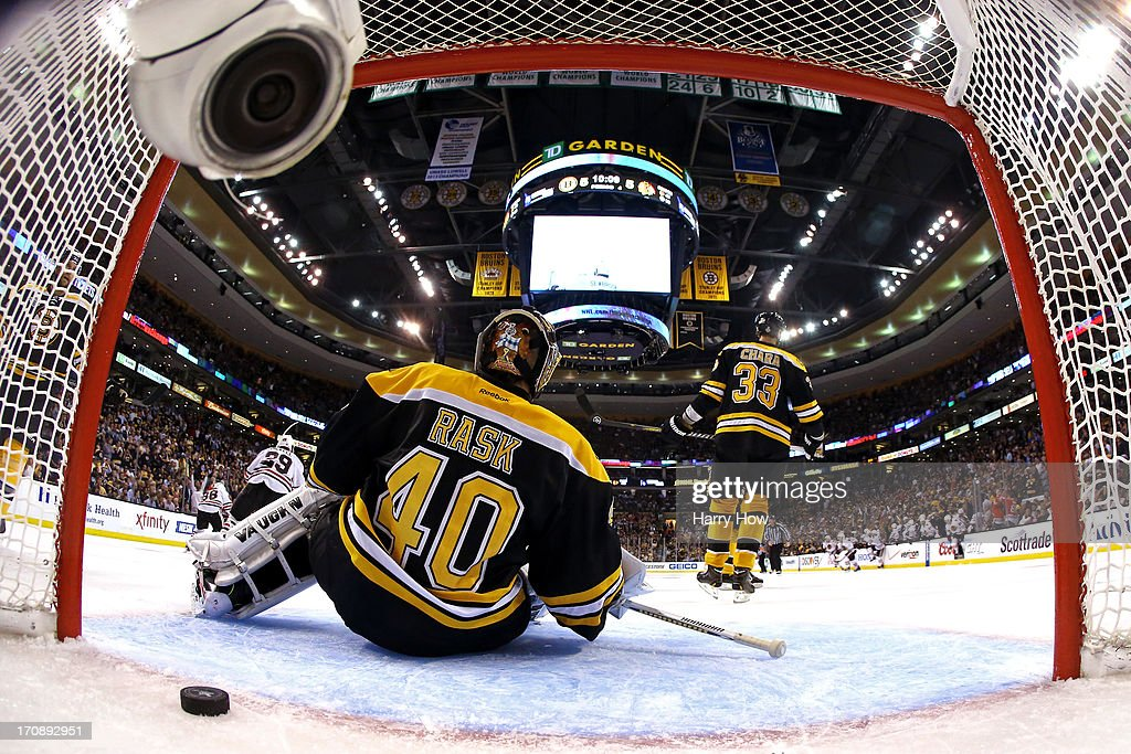 Tuukka Rask #40 of the Boston Bruins fails to save the game winning goal by Brent Seabrook #7 of the Chicago Blackhawks in overtime in Game Four of the 2013 NHL Stanley Cup Final at TD Garden on June 19, 2013 in Boston, Massachusetts.