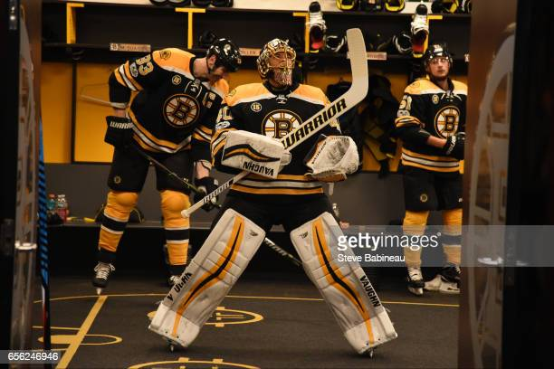 Tuukka Rask of the Boston Bruins gets ready to head out to warm up before the game against the Ottawa Senators at the TD Garden on March 21 2017 in...