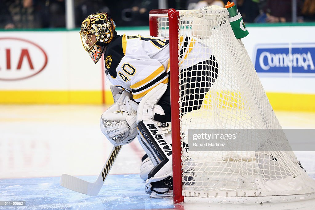 Tuukka Rask #40 of the Boston Bruins in goal against the Dallas Stars at American Airlines Center on February 20, 2016 in Dallas, Texas.