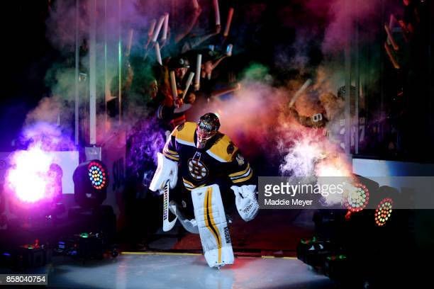 Tuukka Rask of the Boston Bruins is introduced before the game against the Nashville Predators at TD Garden on October 5 2017 in Boston Massachusetts