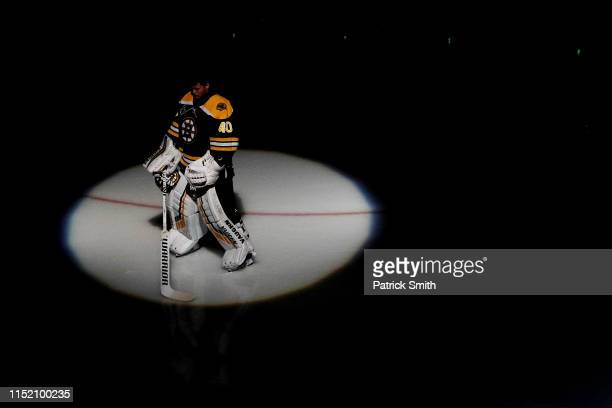 Tuukka Rask of the Boston Bruins is introduced prior to Game One of the 2019 NHL Stanley Cup Final against the St Louis Blues at TD Garden on May 27...