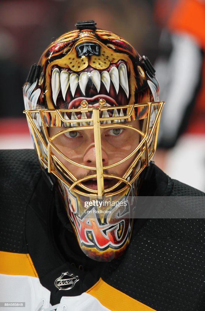 Tuukka Rask #40 of the Boston Bruins looks on during a stoppage in play against the Philadelphia Flyers on December 2, 2017 at the Wells Fargo Center in Philadelphia, Pennsylvania. The Bruins went on to defeat the Flyers 3-0.