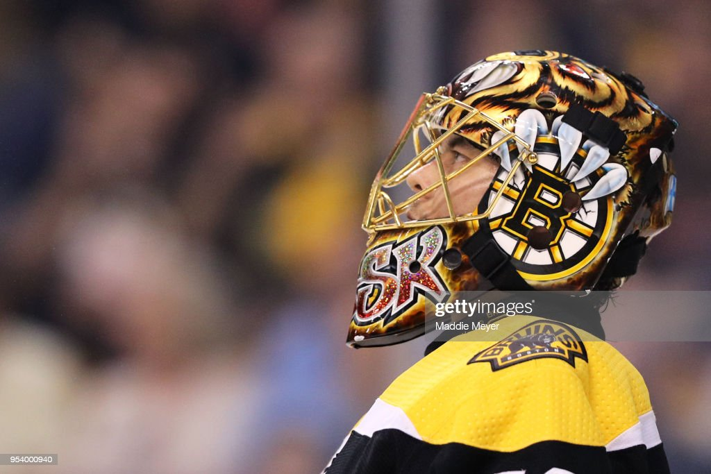 Tuukka Rask #40 of the Boston Bruins looks on during the second period of Game Three of the Eastern Conference Second Round during the 2018 NHL Stanley Cup Playoffs at TD Garden on May 2, 2018 in Boston, Massachusetts.