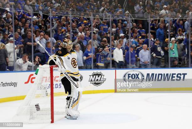 Tuukka Rask of the Boston Bruins looks on late in the third period against the St Louis Blues in Game Four of the 2019 NHL Stanley Cup Final at...