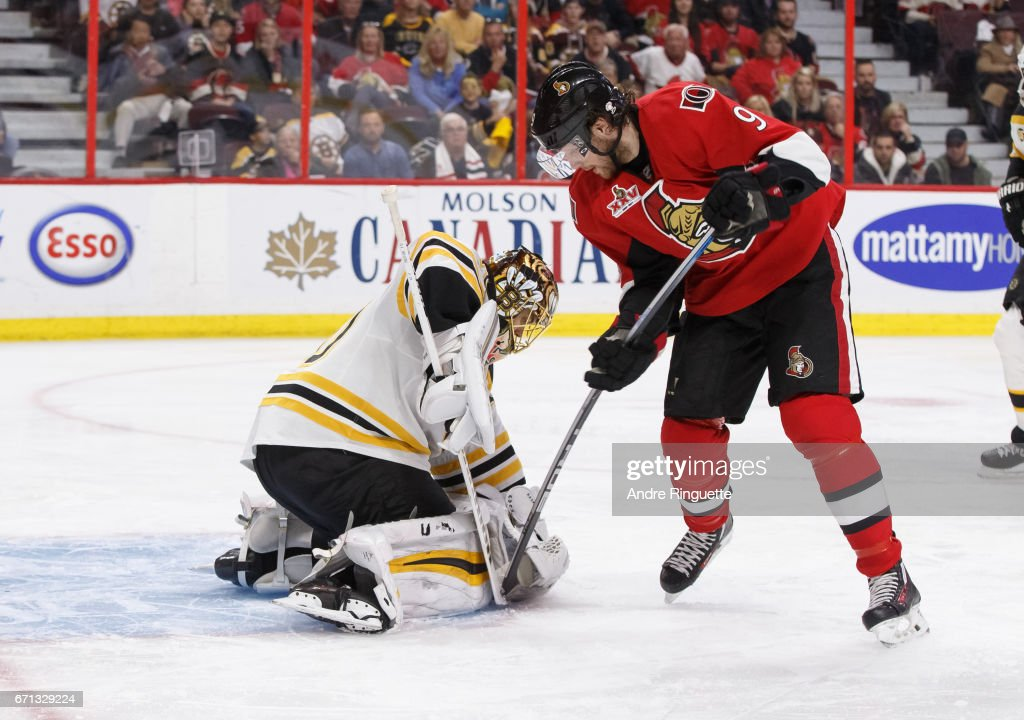 Tuukka Rask #40 of the Boston Bruins makes a save against a scoring chance in overtime by Bobby Ryan #9 of the Ottawa Senators in Game Five of the Eastern Conference First Round during the 2017 NHL Stanley Cup Playoffs at Canadian Tire Centre on April 21, 2017 in Ottawa, Ontario, Canada.