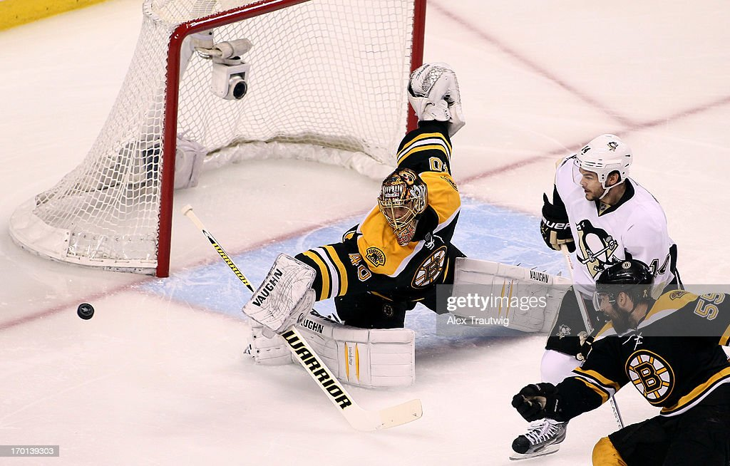 Tuukka Rask #40 of the Boston Bruins makes a save against Brooks Orpik #44 of the Pittsburgh Penguins in the first period in Game Four of the Eastern Conference Final during the 2013 Stanley Cup Playoffs at TD Garden on June 7, 2013 in Boston, Massachusetts.