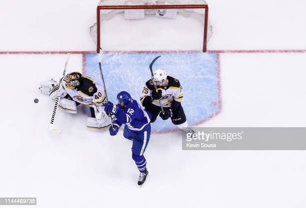 Tuukka Rask of the Boston Bruins makes a save against the Patrick Marleau of the Toronto Maple Leafs during the third period during Game Six of the...