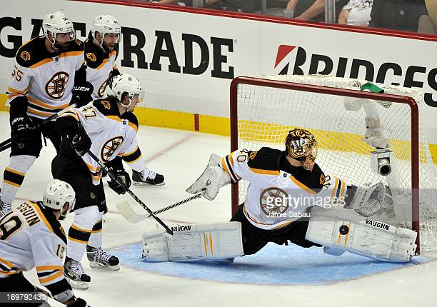 Tuukka Rask of the Boston Bruins makes a save against the Pittsburgh Penguins during Game One of the Eastern Conference Final of the 2013 NHL Stanley...