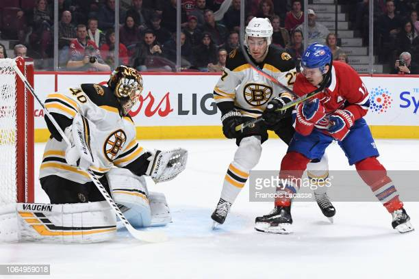 Tuukka Rask of the Boston Bruins makes a save in front of Brendan Gallagher of the Montreal Canadiens in the NHL game at the Bell Centre on November...