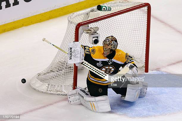 Tuukka Rask of the Boston Bruins makes a save in the first period against the Chicago Blackhawks in Game Three of the 2013 NHL Stanley Cup Final at...